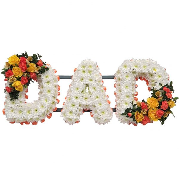 Dad Funeral Tribute- White Based Letters with a delicate Spray and Ribboning in a colour of your choice. Funeral Flowers in Westcliff