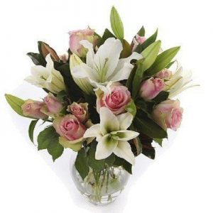 Lily and Rose Vase Arrangement