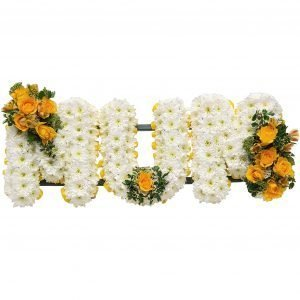 Mum Funeral Tribute– A whiteChrysanthemum base with a spray of Roses & Carnations in a colour of your choice.