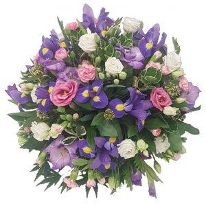 Purple Haze Funeral Posy – ALovelyselection ofPink & White Lisianthuswith Purple Iris, Spray Carnationsarranged in mixed foliage.