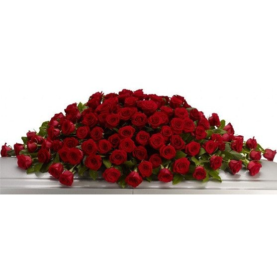 Red Rose Coffin Top - Funeral Flowers in Westcliff on Sea, Essex - Home of Flowers