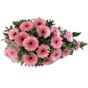 Sweet Memories - Funeral Spray – A stunning arrangement of PinkGerberas in a Single Ended Funeral Spray.Funeral FlowersfromHome of Flowers– YourLocal Online FloristinWestcliff on Sea.