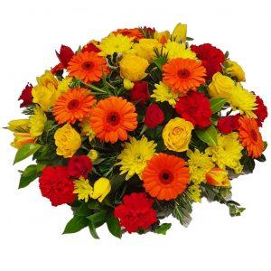 Gerbera Sunset Funeral Posy – ALovelyselection ofGerberas, Roses &Spray Carnationsarranged in mixed foliage.