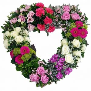 Grouped Heart - Funeral Tributes - A Selection of your Favourite Flowers grouped together in a Heart Shaped Tribute.