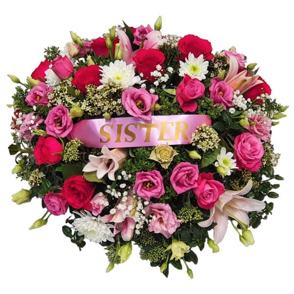 Sweet Infinity Funeral Posy– ALovelyselection of Pink Roses,Oriental Lilies & Lisianthus arranged in mixed foliage with optional personalisation.