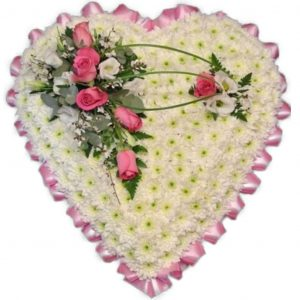Heart Funeral Tribute - A White Chrysanthemum based Heart Shaped Funeral Tribute with Ribbon & Spray in a colour of your choice