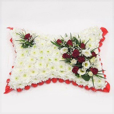 Funeral Pillow with Red Roses