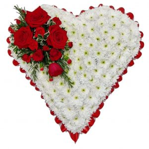 Pure Love Heart Funeral Tribute - A White Chrysanthemum based Heart Shaped Funeral Tribute with Rose Spray and Ribbon in a colour of your choice.