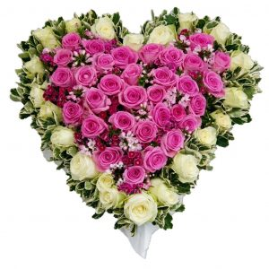 Sweetheart Funeral Tribute - A Heart Shaped Funeral Tribute filled with Beautiful Roses in a colour of your choice.