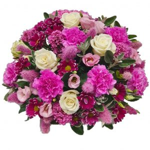 Amaranth Posy – A Lovely selection of Pink Carnations, Chrysanthemum & Lisianthus complemented by White Roses and arranged in mixed foliage.