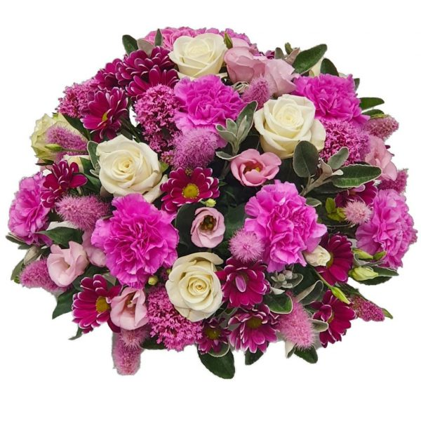 Amaranth Posy – A Lovelyselection of Pink Carnations, Chrysanthemum & Lisianthus complemented by White Roses and arranged in mixed foliage.