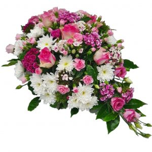 Baby Pink Teardrop - Funeral Spray - A Single Ended Funeral Spray filled with Beautiful Pink & White Roses, Chrysanthemum, Spray Carnations & Sweet William.