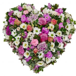Country Rose Heart Funeral Tribute - A Loose, Heart Shaped, Funeral Tribute filled with Roses, Sweet William, Stock & Lisianthus in a colour of your choice.