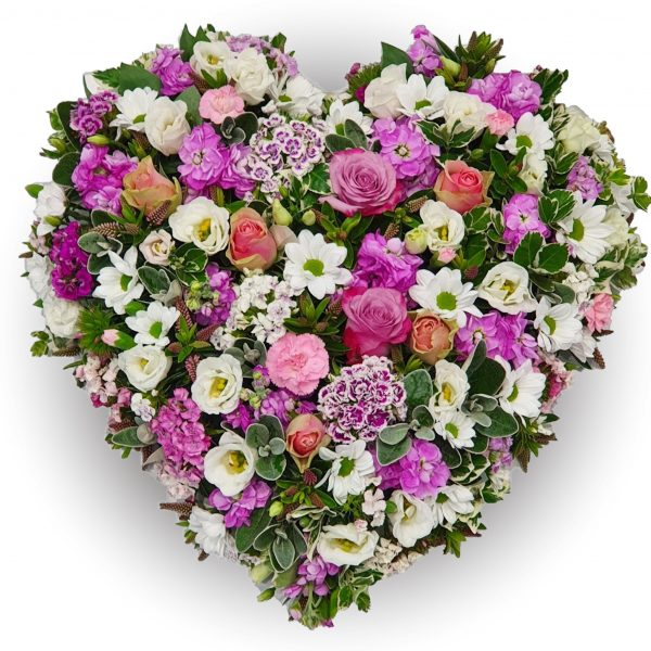 Country Rose Heart Funeral Tribute