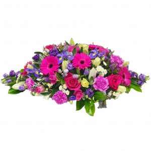 Gerbera Funeral Spray -  A Wonderful selection of Pink Gerberas & Roses arranged with Lillies & Iris.