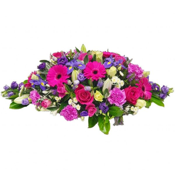 Gerbera Funeral Spray - A Wonderful selection of Pink Gerberas & Rosesarranged with Lillies & Iris.