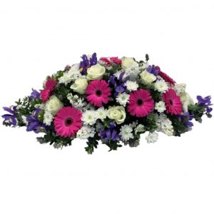 Goodnight Kiss - Funeral Spray - A Double Ended Funeral Spray filled with Beautiful White Roses, Cerise Gerberas, Chrysanthemums & Vibrant Blue Iris.