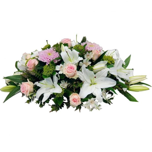 Lily Delight - Funeral Spray - A Double Ended Funeral Spray filled with Beautiful, White, Oriental Lilies and Pink Roses.