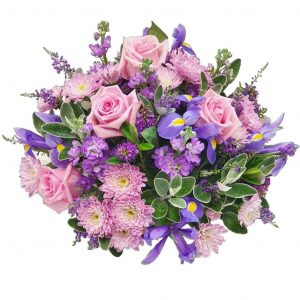 Pastel Dream Posy – A Lovely selection of Pink Roses with Blue Iris, Chrysanthemum & Stock arranged in mixed foliage