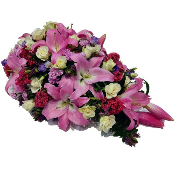 Pink Bliss - Funeral Spray - A Single Ended Funeral Spray filled with Beautiful Pink Lilies & White Roses.