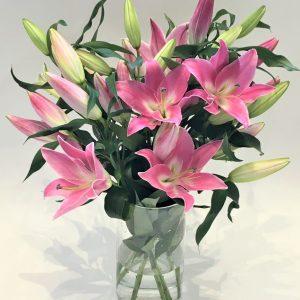 Pink Lily Vase Arrangement