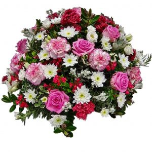 Pink & White Funeral Posy – A Lovely selection of Pink & White Lisianthus with Pink Roses & Carnations complemented by White Chrysanthemum and arranged in mixed foliage.