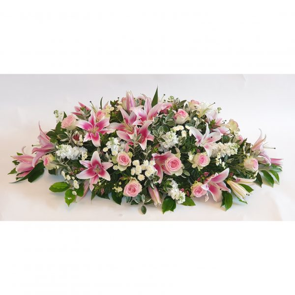 Stargazer Coffin Top - A Beautiful selection of Stargazer Lillies, Pink Roses & White Stock