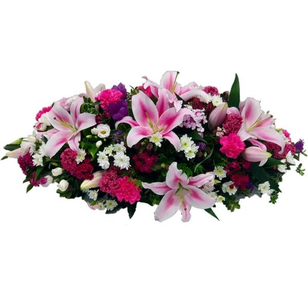 Stargazer Funeral Spray - A Wonderful selection of the best Stargazer Lillies arranged with Lisianthus & Cerise Carnations