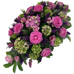 Summertime Dream - A Single Ended Spray filled with Roses, Hydrangeas, Lisianthus and Purple Hebe in soft summer shades
