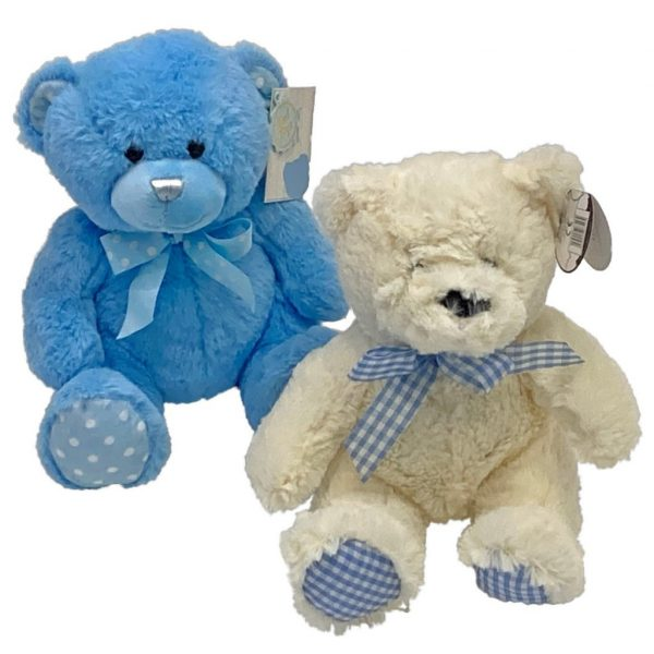 Baby Boy Teddy - A medium sizedCuddly Teddy Bear available in Blue or Cream & Blue perfectly Complimentingyour Flower Selection to celebrate the birth of a Baby Boy
