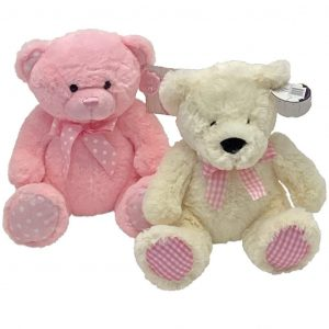 Baby Girl Teddy - A medium sized Cuddly Teddy Bear available in Pink or Cream & Pink perfectly Complimenting your Flower Selection to celebrate the birth of a Baby Girl