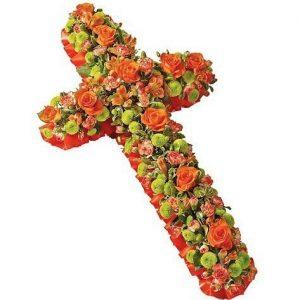 Orange Fusion Funeral Cross
