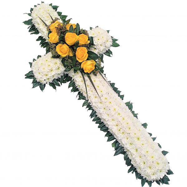 White Based Funeral Cross