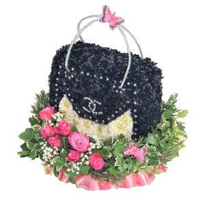 Handbag - Funeral Tribute - A Chrysanthemum based Funeral Tribute in the shape of a Designer Handbag.